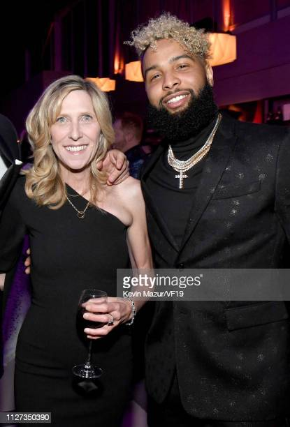 Maura Mandt and Odell Beckham Jr attend the 2019 Vanity Fair Oscar Party hosted by Radhika Jones at Wallis Annenberg Center for the Performing Arts...