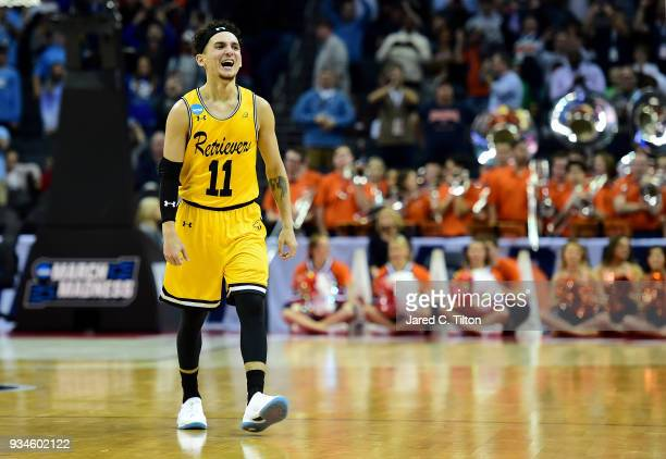 J Maura of the UMBC Retrievers reacts during their game against the Virginia Cavaliers during the first round of the 2018 NCAA Men's Basketball...