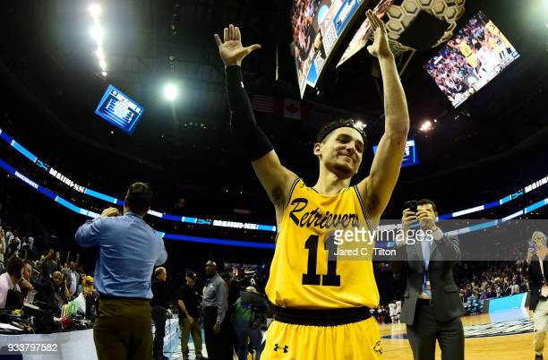 J Maura of the UMBC Retrievers salutes the fans after a 5043 loss to the Kansas State Wildcats during the second round of the 2018 NCAA Men's...