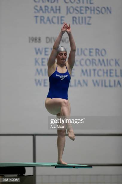Maura SticcoIvins of Wellesly competes in the 3 meter springboard during the Division III Men's and Women's Swimming Diving Championships held at the...