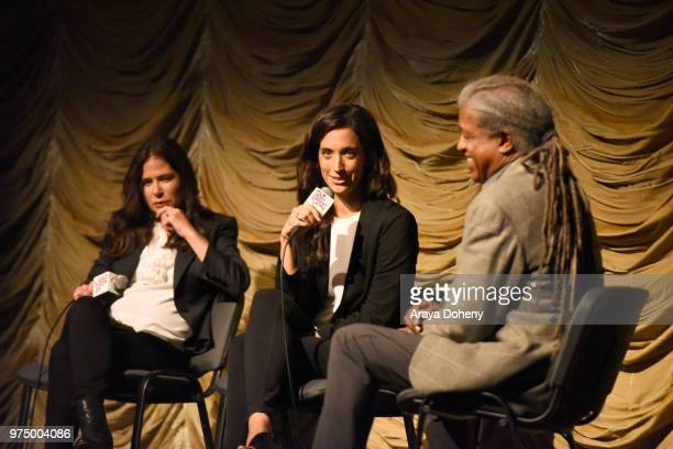 Maura Tierney Sarah Treem and Elvis Mitchell attend Film Independent at LACMA presents screening and QA of The Affair at Bing Theater At LACMA on...