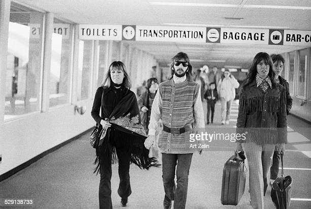 Maureen and Ringo Starr arriving at the NYC Airport circa 1970 New York