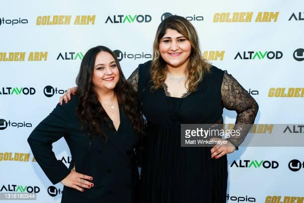 "Maureen Bharoocha and Geeta Bajaj attends Utopia Films presents ""Golden Arm"" premiere at Palm Sophia Rooftop on April 30, 2021 in Culver City,..."