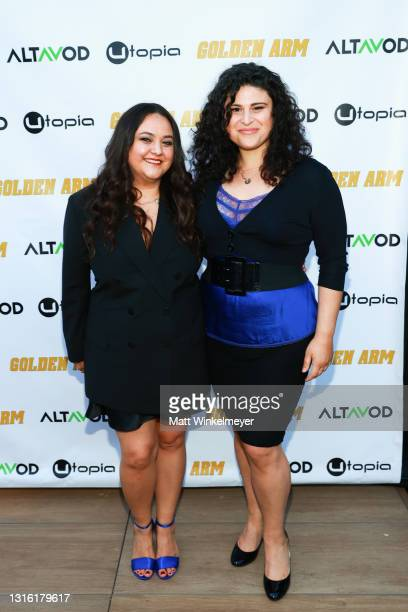 """Maureen Bharoocha, and Olivia Stambouliah attends Utopia Films presents """"Golden Arm"""" premiere at Palm Sophia Rooftop on April 30, 2021 in Culver..."""