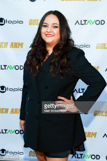 """Maureen Bharoocha attends Utopia Films presents """"Golden Arm"""" premiere at Palm Sophia Rooftop on April 30, 2021 in Culver City, California."""