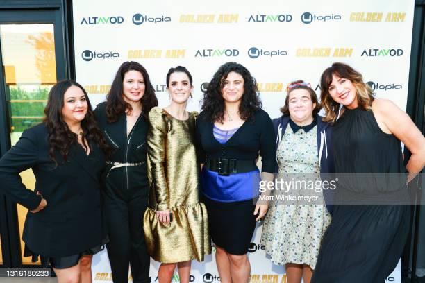"Maureen Bharoocha, Jenna Milly, Mary Holland, Olivia Stambouliah, Betsy Sodaro, and Jenna Milly attends Utopia Films presents ""Golden Arm"" premiere..."