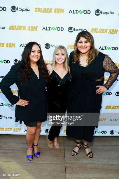 "Maureen Bharoocha, Lauren Knutti and Geeta Bajaj attends Utopia Films presents ""Golden Arm"" premiere at Palm Sophia Rooftop on April 30, 2021 in..."