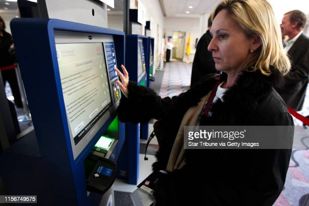 Maureen Chatelain of Atlanta GA used the new Global Entry System to clear custom at the Minneapolis Airport after arriving from Paris France Monday...