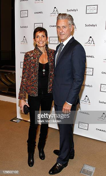 Maureen Chiquet and NYAA President David Kratz attend The New York Academy of Art's 20th Annual Take Home a Nude benefit at Sotheby's on October 17...