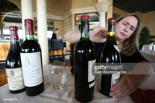 Maureen Downey fake wine expert samples bottles of fake wine at Grissini Grand Hyatt Hong Kong on FebruarY 07 2017 07FEB17 [FEATURES] SCMP / Jonathan...