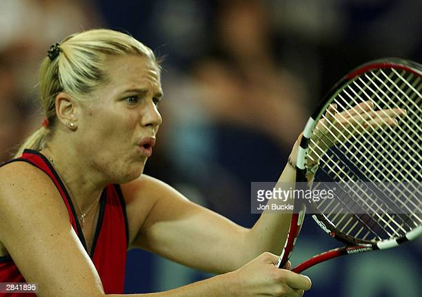 Maureen Drake of Canada faces Petra Mandula of Hungary during match between Hungary and Canada on day one of the Hopman Cup held at the Burswood Dome...