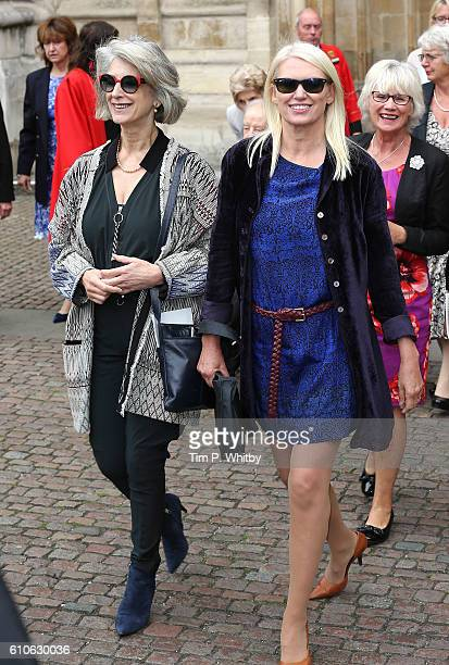Maureen Lipman and Anneka Rice depart after attending a memorial service for the late Sir Terry Wogan at Westminster Abbey on September 27 2016 in...