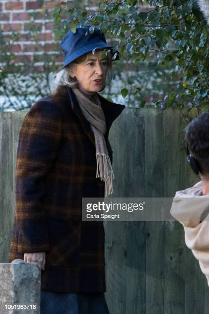 Maureen Lipman who plays Evelyn Plummer is seen filming scenes for an upcoming episode of British soap Coronation Street on October 9 2018 in...