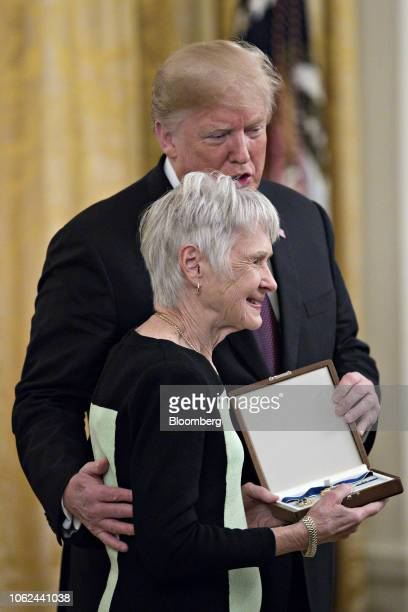 Maureen McCarthy Scalia wife of former US Supreme Court Justice Antonin Scalia is presented the Presidential Medal of Freedom by US President Donald...