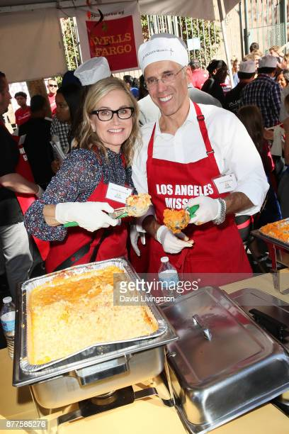Maureen McCormick and Jeffrey Katzenberg are seen at the Los Angeles Mission Thanksgiving Meal for the homeless at the Los Angeles Mission on...