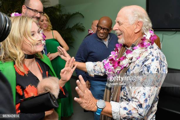 Maureen McCormick and Jimmy Buffett attend the Broadway premiere of 'Escape to Margaritaville' the new musical featuring songs by Jimmy Buffett at...