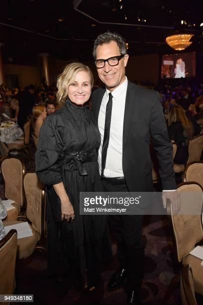 Maureen McCormick and Michael Cummings at the 25th Annual Race To Erase MS Gala at The Beverly Hilton Hotel on April 20 2018 in Beverly Hills...