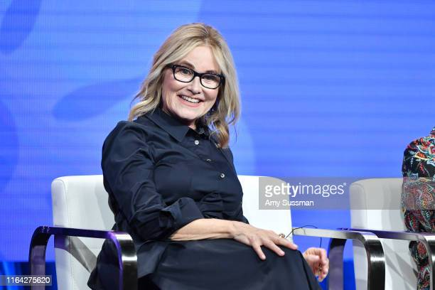 Maureen McCormick of A Very Brady Renovation speaks during the Discovery segment of the Summer 2019 Television Critics Association Press Tour 2019 at...
