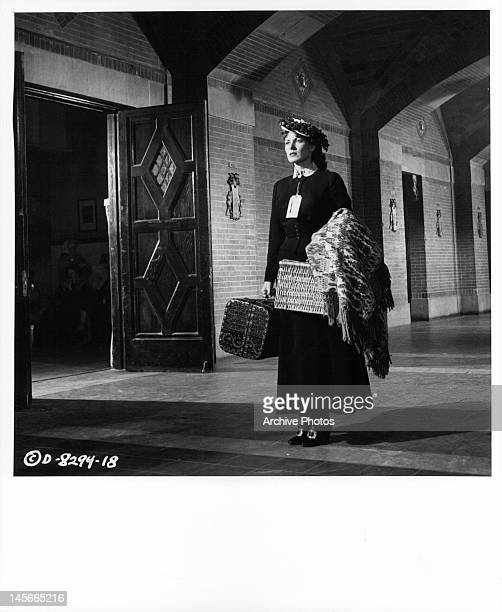 Maureen O'Hara arrives fresh from Ireland to work at West Point in a scene from the film 'The Long Gray Line' 1955
