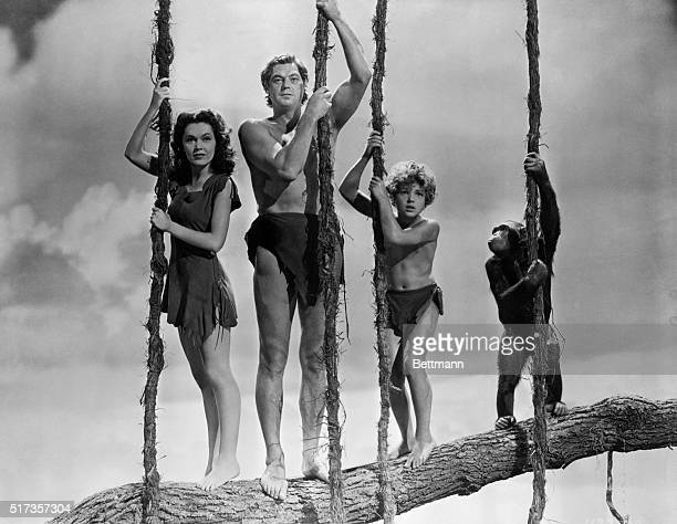 Maureen O'Sullivan as Jane Johnny Weissmuller as Tarzan and Johnny Sheffield as Boy in one of three Tarzan movies they made together from 1939 to 1942