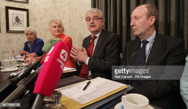 Maureen O'Sullivan TD Independent MEP Marian Harkin Finian McGrath TD and Shane Ross TD speaking at a press conference to demand a postponement of...
