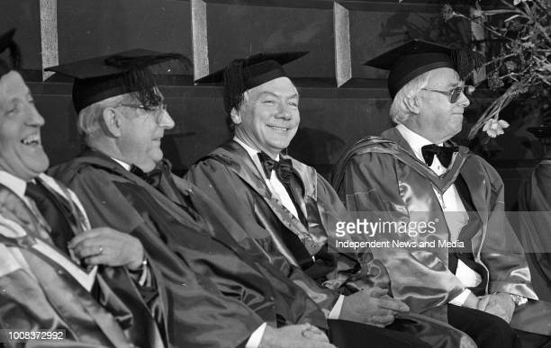 Maureen Potter Hugh Leonard and Gay Byrne at Trinity College to receive honorary degrees to celebrate the Millennium circa March 1988