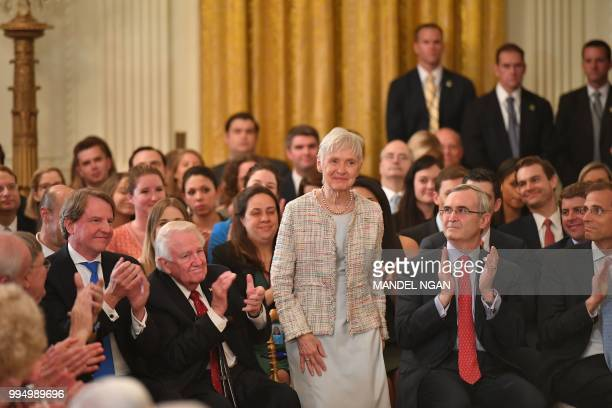 Maureen Scalia widow of Justice Antonin Scalia arrives to witness US President Donald Trump announce his Supreme Court nominee in the East Room of...