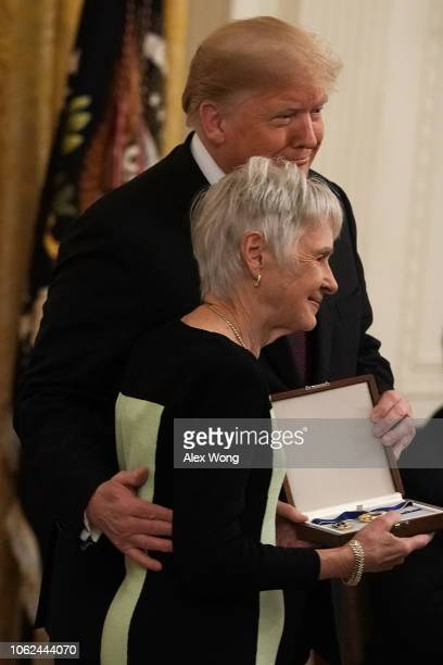 Maureen Scalia widow of the late US Supreme Court Justice Antonin Scalia receives the the Presidential Medal of Freedom on behalf of the late justice...