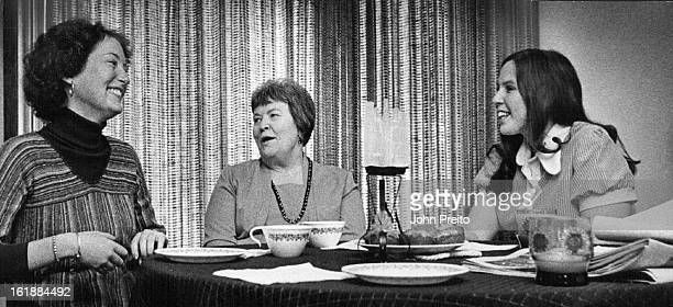 MAR 25 1976 MAR 29 1976 Maureen Sweeney Left and Debbie Zellner Right Have Coffee With Aggie Dilsaver Misses Sweeney and Zellner are University of...