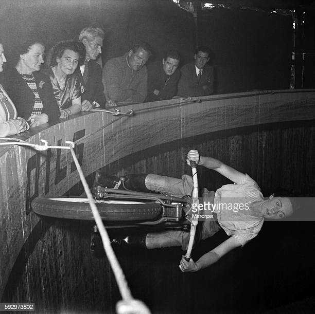 Maureen Swift, Wall of death rider. June 1952 C3335-001