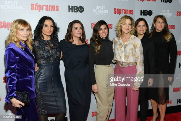 Maureen Van Zandt Kathrine Narducci Annabella Sciorra JamieLynn Sigler Edie Falco Ilene S Landress and attend the 'The Sopranos' 20th Anniversary...