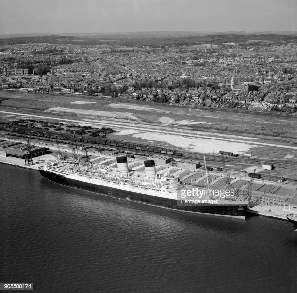 RMS 'Mauretania' at the New Docks Southampton Hampshire 1949 Launched in 1938 for the Cunard White Star Company 'Mauretania' was scrapped in 1965...