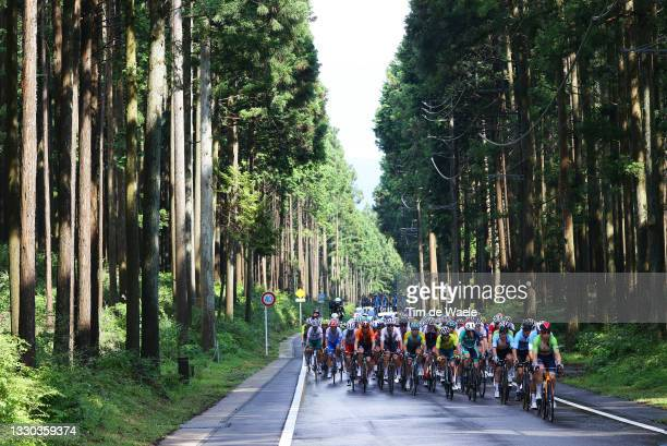 Mauri Vansevenant of Team Belgium & Jan Tratnik of Team Slovenia leads the peloton passes through a forest during the Men's road race at the Fuji...
