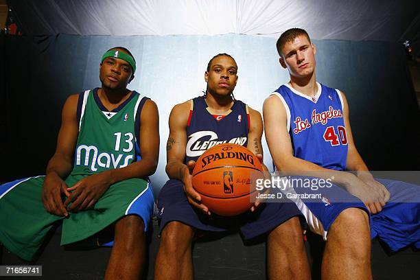 Maurice Ager of the Dallas Mavericks, Shannon Brown of the Cleveland Cavaliers and Paul Davis of the Los Angeles Lakers pose for a portrait during...