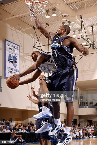 Maurice Ager of the Orlando Magic shoots against Serge Ibaka of the Oklahoma City Thunder during the game on July 6 2009 at the RDV Sportsplex in...