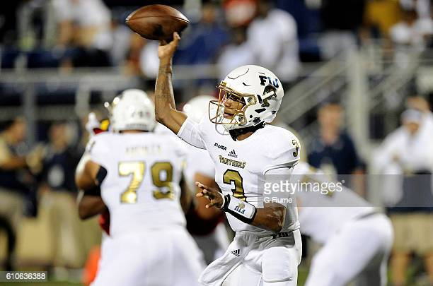 Maurice Alexander of the FIU Golden Panthers throws a pass against the Maryland Terrapins at FIU Stadium on September 9 2016 in Miami Florida