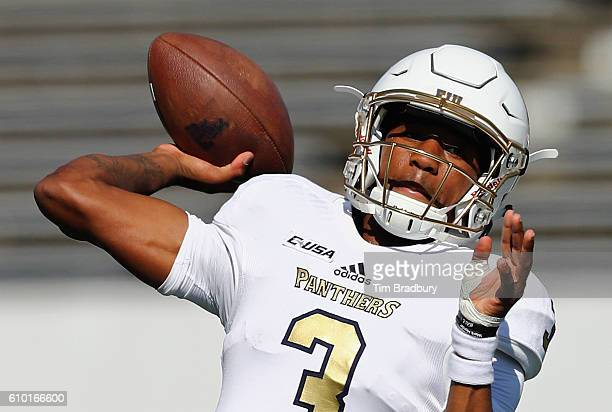 Maurice Alexander of the FIU Golden Panthers warms up before the game against the Massachusetts Minutemen at Warren McGuirk Alumni Stadium on...