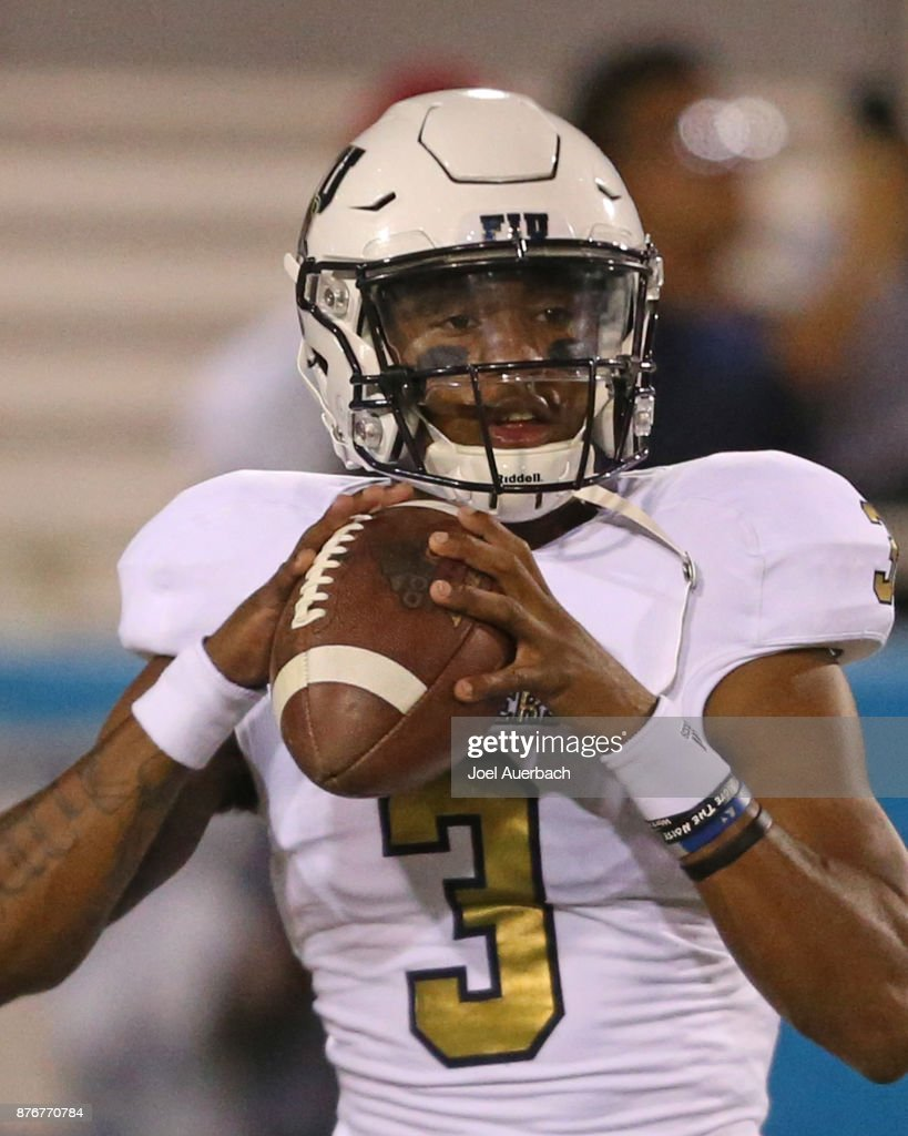 Maurice Alexander #3 of the Florida International Golden Panthers throws the ball prior to the game against the Florida Atlantic Owls at FAU Stadium on November 18, 2017 in Boca Raton, Florida. Florida Atlantic defeated Florida International 52-24.