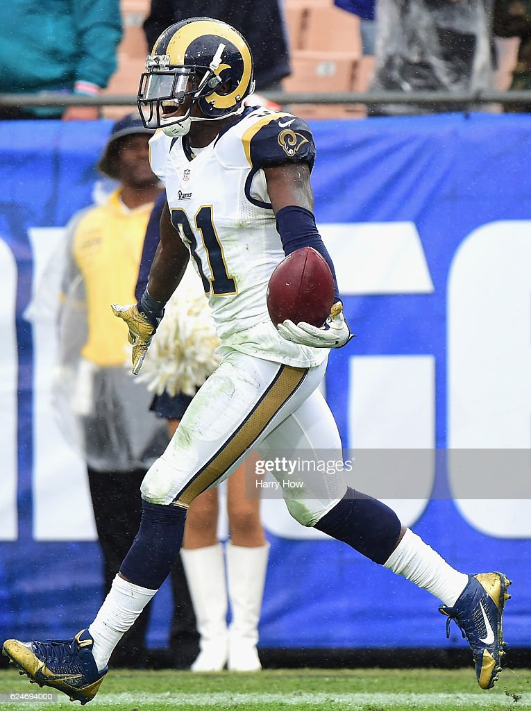 Maurice Alexander #31 of the Los Angeles Rams celebrates his interception in the end zone against the Miami Dolphins during the third quarter of the game at Los Angeles Coliseum on November 20, 2016 in Los Angeles, California.