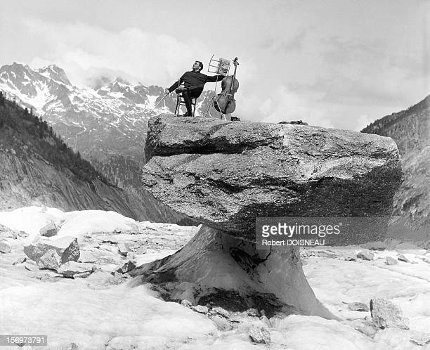 Maurice Baquet, virtuoso cellist, 1957 in Chamonix, France.