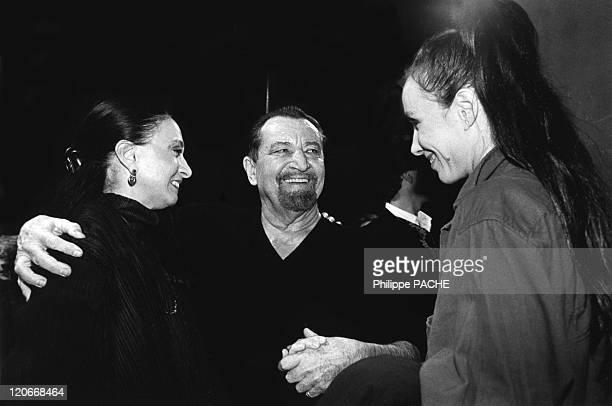Maurice Bejart in Lausanne Switzerland on December 20 1996 Marcia Haydee Maurice Bejart and Sylvie Guillem Lausanne during the Bejart's 70 birthday...