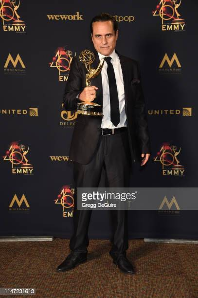 Maurice Benard poses with the Daytime Emmy Award for Outstanding Lead Actor in a Drama Series in the press room during the 46th annual Daytime Emmy...