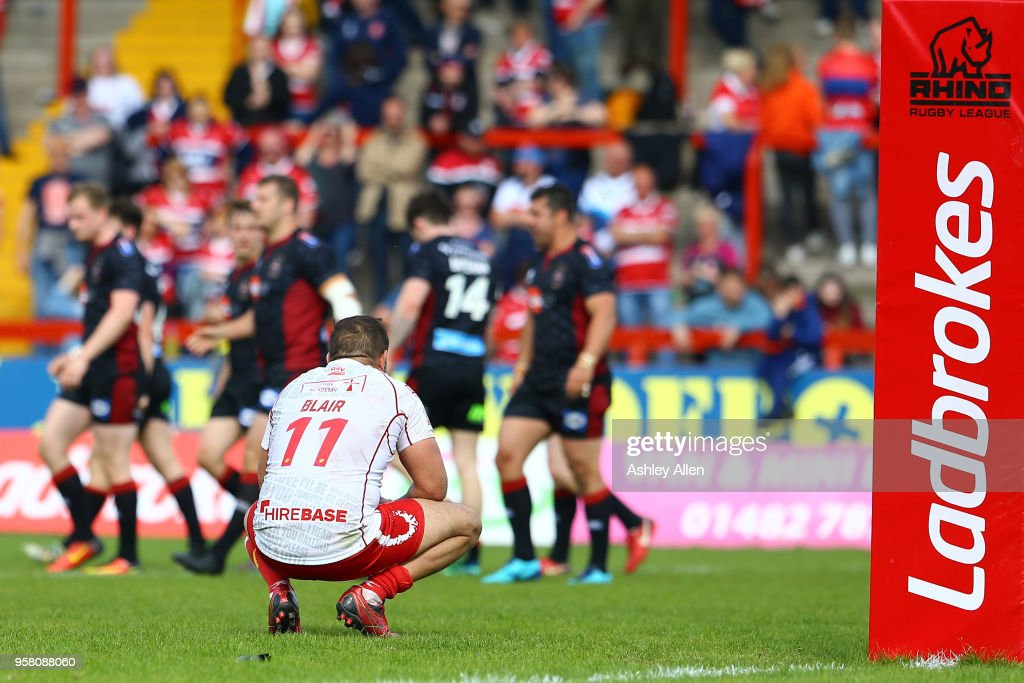 Maurice Blair of Hull KR reacts as Wigan Warriors score another try during round six of the Ladbrokes Challenge Cup at KCOM Craven Park on May 13, 2018 in Hull, England.