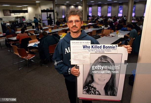 Maurice Cassidy distributes fliers and bumper stickers Wednesday, January 25, 1995 around the University of Alaska Anchorage campus in a search for...