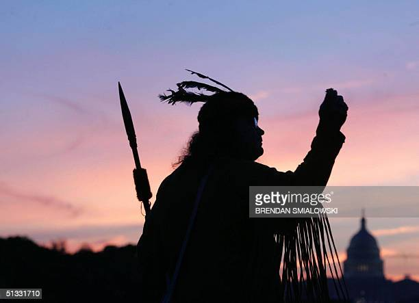 Maurice Cato an Appellation Cherokee from West Virginia prays to Mother Earth and Grandfather Sky in front of the US Capitol Building before the...