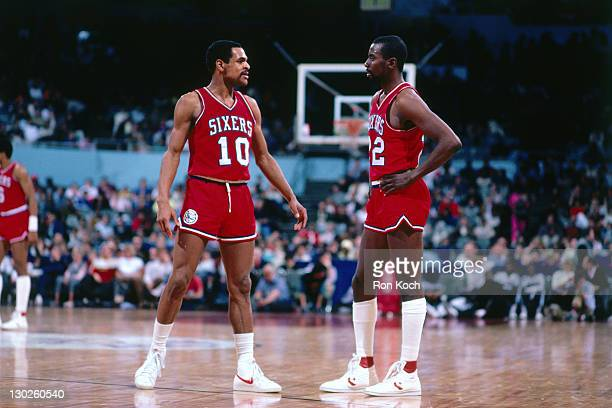 Maurice Cheeks and Andrew Toney of the Philadelphia 76ers talk against the Los Angeles Clippers during a game played circa 1987 at the LA Sports...