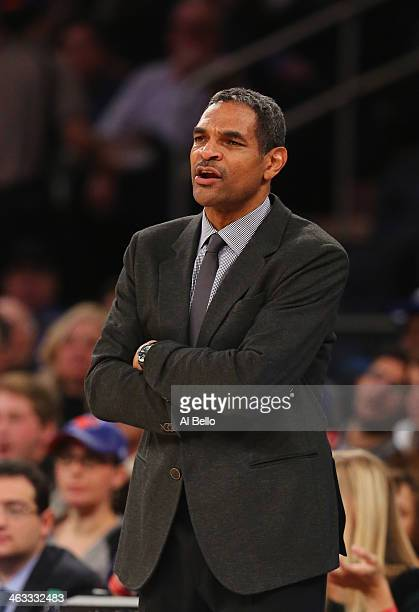 Maurice Cheeks Head coach of the Detroit Pistons looks on during their game against the New York Knicks at Madison Square Garden on January 7 2014 in...