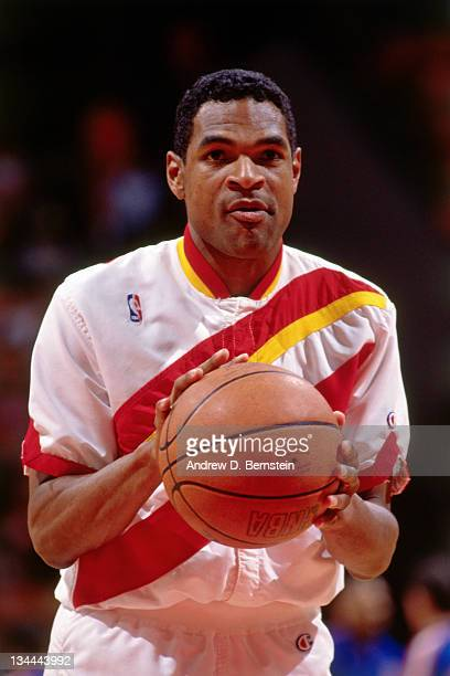 Maurice Cheeks of the Atlanta Hawks warms up before the game against the Los Angeles Clippers in circa 1991 at the Los Angeles Memorial Sports Arena...