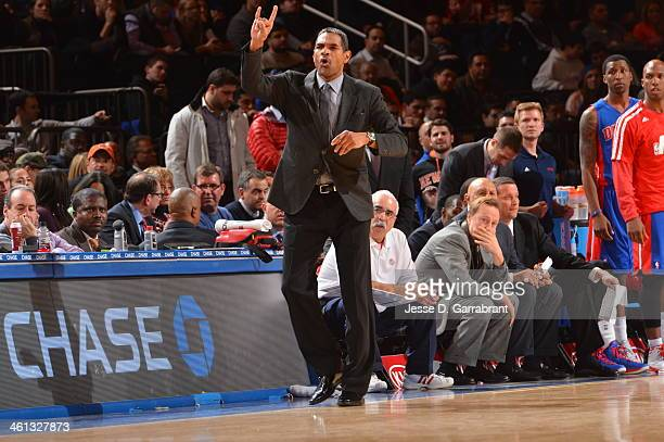 Maurice Cheeks of the Detroit Pistons calls a play during the game against the New York Knicks on January 7 2014 at Madison Square Garden in New York...