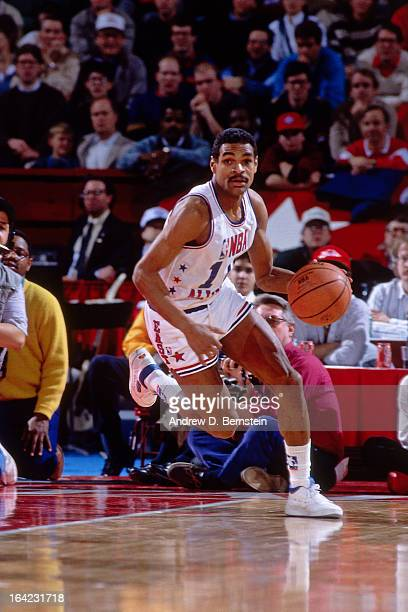 Maurice Cheeks of the Eastern Conference All Stars dribbles the ball during the 1988 NBA AllStar Game on February 7 1988 at the Chicago Stadium...